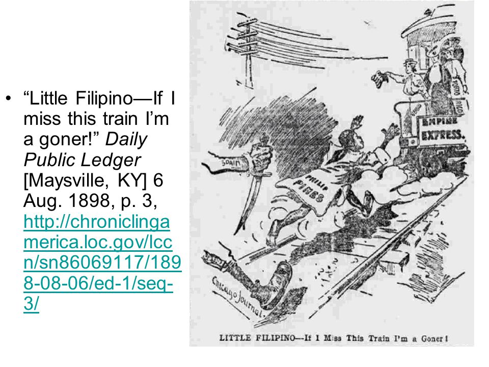 Little Filipino—If I miss this train I'm a goner! Daily Public Ledger [Maysville, KY] 6 Aug.