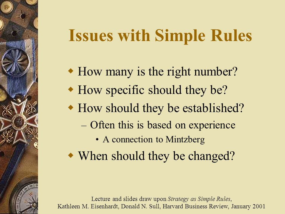 Issues with Simple Rules  How many is the right number.