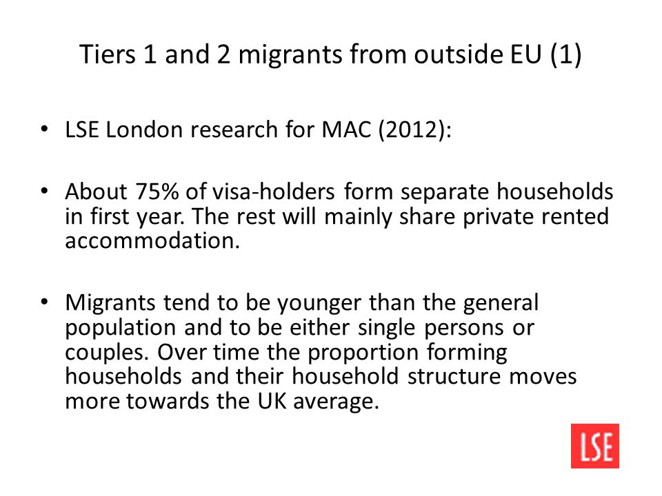 Tiers 1 and 2 migrants from outside EU (1) LSE London research for MAC (2012): About 75% of visa-holders form separate households in first year.