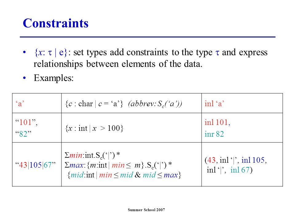 Summer School 2007 Constraints {x:  | e}: set types add constraints to the type  and express relationships between elements of the data. Examples: '