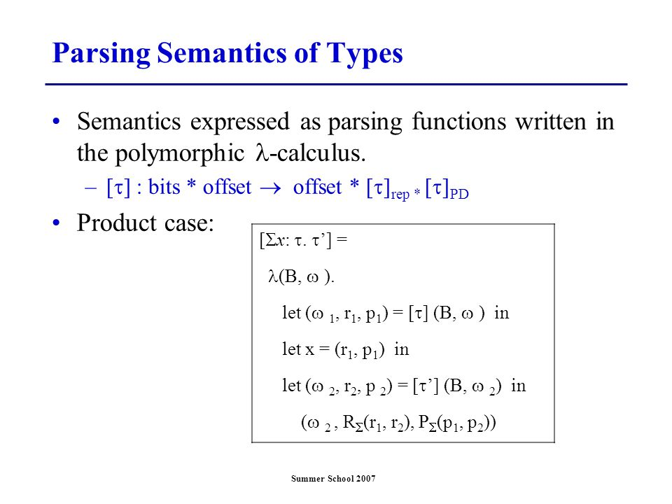 Summer School 2007 Parsing Semantics of Types Semantics expressed as parsing functions written in the polymorphic -calculus. –[  ] : bits * offset 