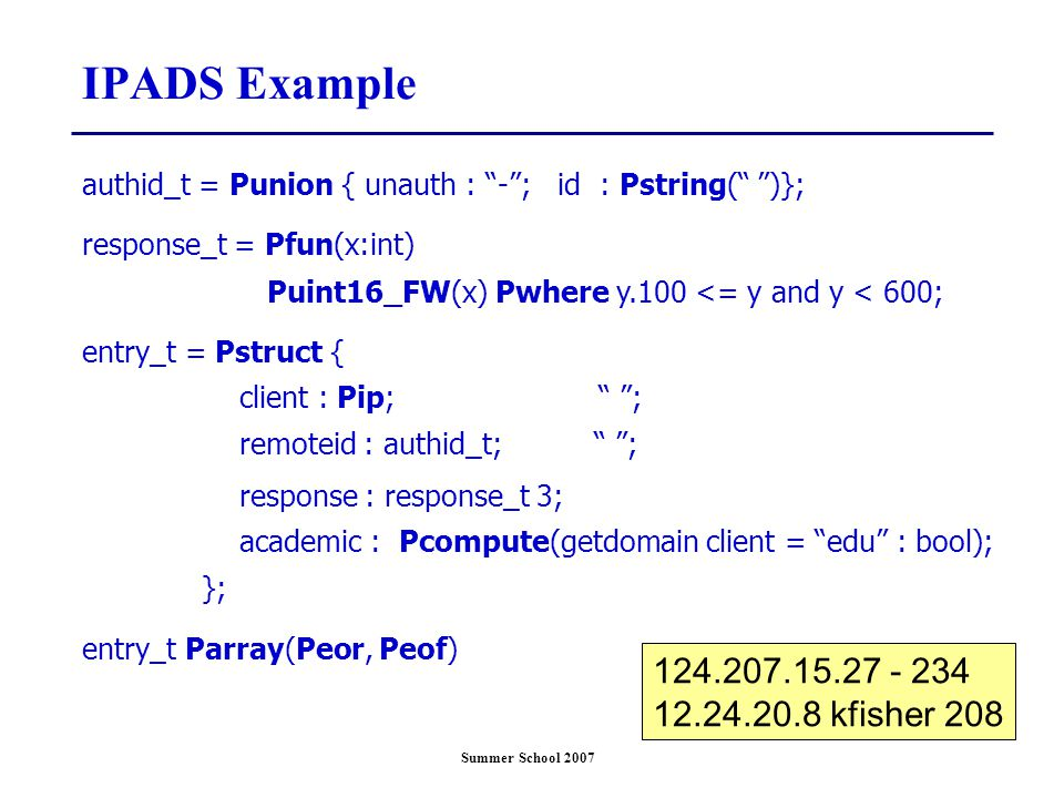 Summer School 2007 IPADS Example authid_t = Punion { unauth : - ; id : Pstring( )}; response_t = Pfun(x:int) Puint16_FW(x) Pwhere y.100 <= y and y < 600; entry_t = Pstruct { client : Pip; ; remoteid : authid_t; ; response : response_t 3; academic : Pcompute(getdomain client = edu : bool); }; entry_t Parray(Peor, Peof) 124.207.15.27 - 234 12.24.20.8 kfisher 208
