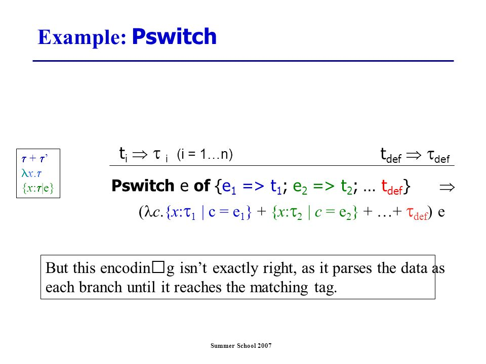 Summer School 2007 Example: Pswitch Pswitch e of {e 1 => t 1 ; e 2 => t 2 ; … t def }  ( c.{x:  1 | c = e 1 } + {x:  2 | c = e 2 } + …+  def ) e t i   i (i = 1…n)  +  ' x.