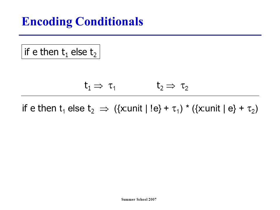 Summer School 2007 Encoding Conditionals if e then t 1 else t 2  ({x:unit | !e} +  1 ) * ({x:unit | e} +  2 ) t 1   1 if e then t 1 else t 2 t 2   2