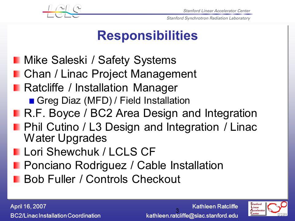 Kathleen Ratcliffe BC2/Linac Installation Coordinationkathleen.ratcliffe@slac.stanford.edu April 16, 2007 14 Documentation Status L3 Status Integration Engineers – Phil Cutino and Richard F.