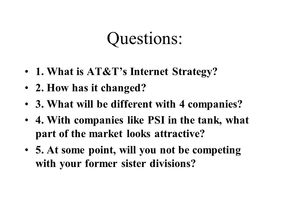 Questions: 1. What is AT&T's Internet Strategy. 2.