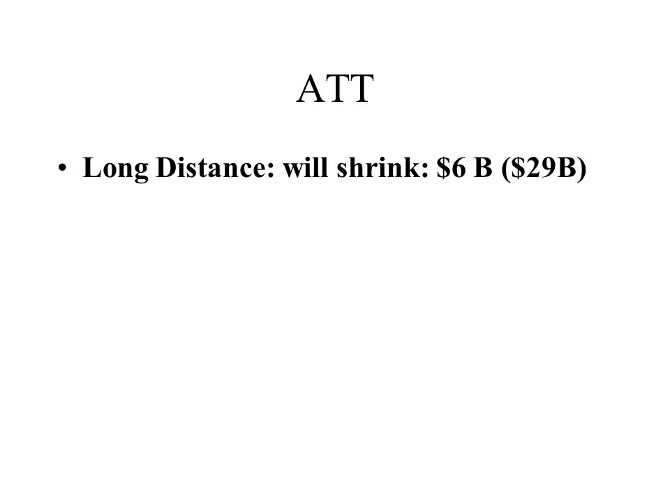 ATT Long Distance: will shrink: $6 B ($29B)