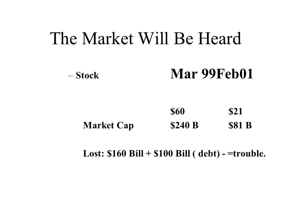 The Market Will Be Heard –Stock Mar 99Feb01 $60$21 Market Cap$240 B$81 B Lost: $160 Bill + $100 Bill ( debt) - =trouble.