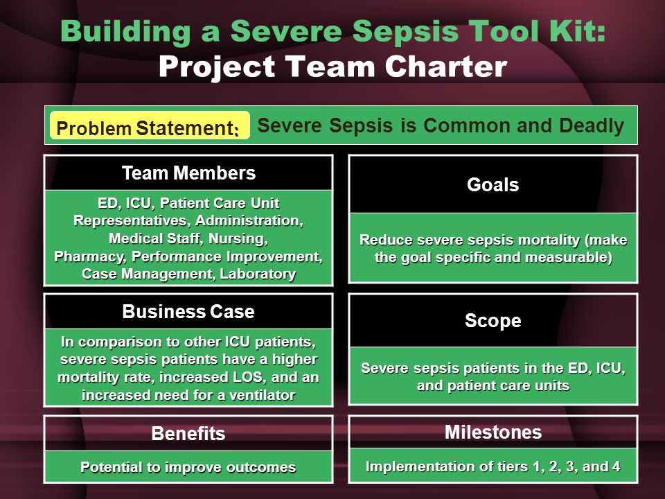 Building a Severe Sepsis Tool Kit: Project Team Charter Severe Sepsis is Common and Deadly : Problem Statement : Team Members ED, ICU, Patient Care Unit Representatives, Administration, Medical Staff, Nursing, Pharmacy, Performance Improvement, Case Management, Laboratory Business Case In comparison to other ICU patients, severe sepsis patients have a higher mortality rate, increased LOS, and an increased need for a ventilator Benefits Potential to improve outcomes Goals Reduce severe sepsis mortality (make the goal specific and measurable) Scope Severe sepsis patients in the ED, ICU, and patient care units Milestones Implementation of tiers 1, 2, 3, and 4