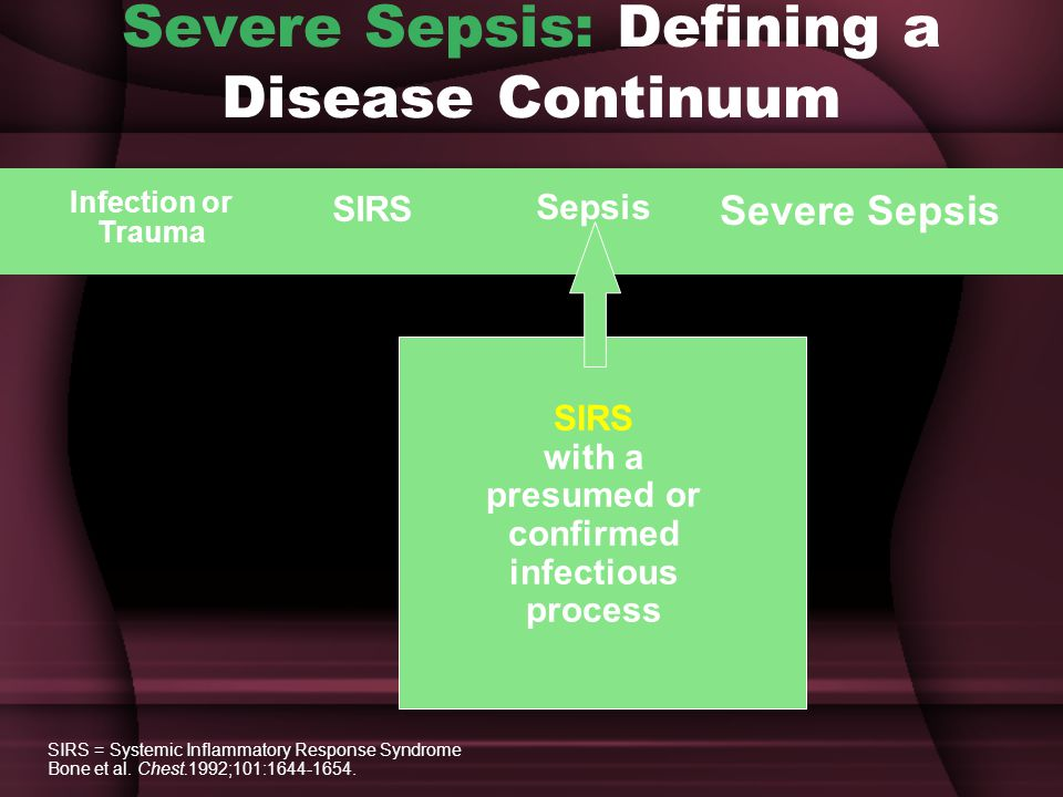 Severe Sepsis: Defining a Disease Continuum SIRS with a presumed or confirmed infectious process Sepsis SIRS Infection or Trauma Severe Sepsis SIRS = Systemic Inflammatory Response Syndrome Bone et al.