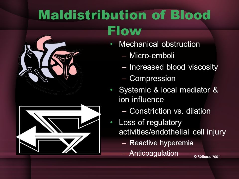 Maldistribution of Blood Flow Mechanical obstruction –Micro-emboli –Increased blood viscosity –Compression Systemic & local mediator & ion influence –Constriction vs.