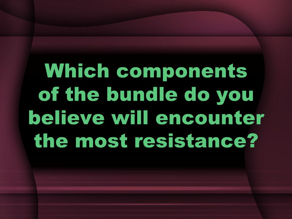 Which components of the bundle do you believe will encounter the most resistance?