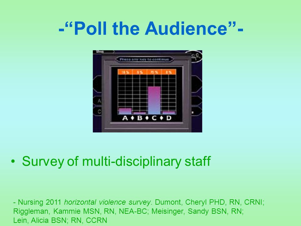 "-""Poll the Audience""- Survey of multi-disciplinary staff - Nursing 2011 horizontal violence survey. Dumont, Cheryl PHD, RN, CRNI; Riggleman, Kammie MS"