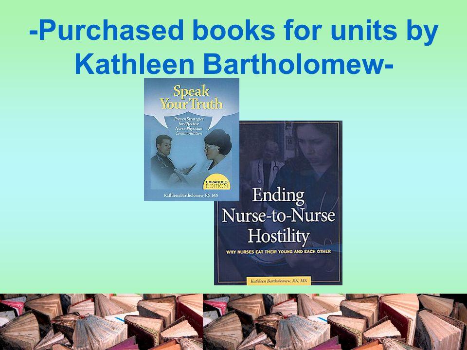 -Purchased books for units by Kathleen Bartholomew-