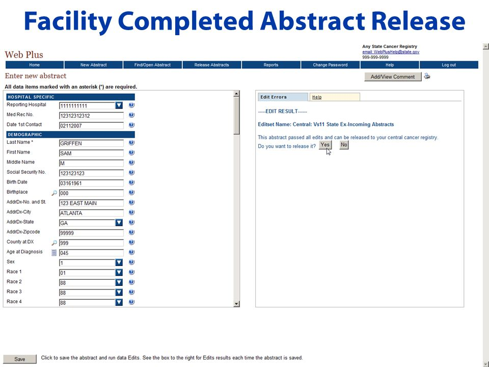 Facility Completed Abstract Release