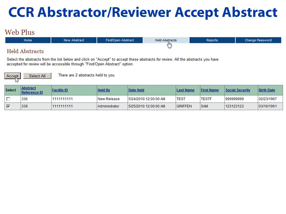 CCR Abstractor/Reviewer Accept Abstract