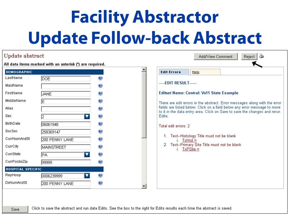 Facility Abstractor Update Follow-back Abstract
