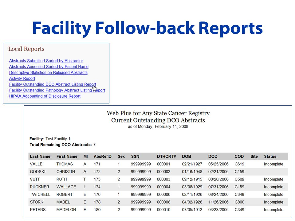 Facility Follow-back Reports