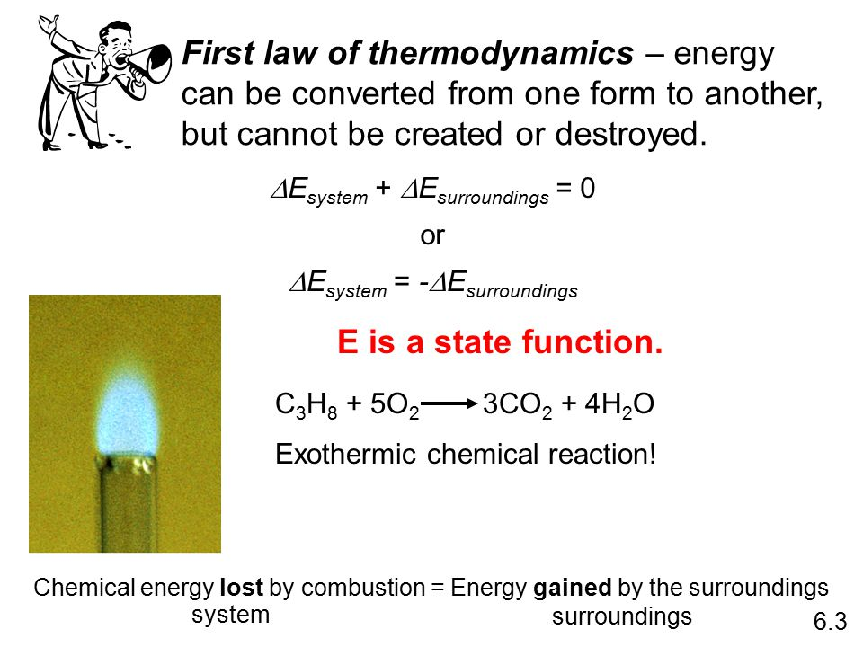 First law of thermodynamics – energy can be converted from one form to another, but cannot be created or destroyed.  E system +  E surroundings = 0