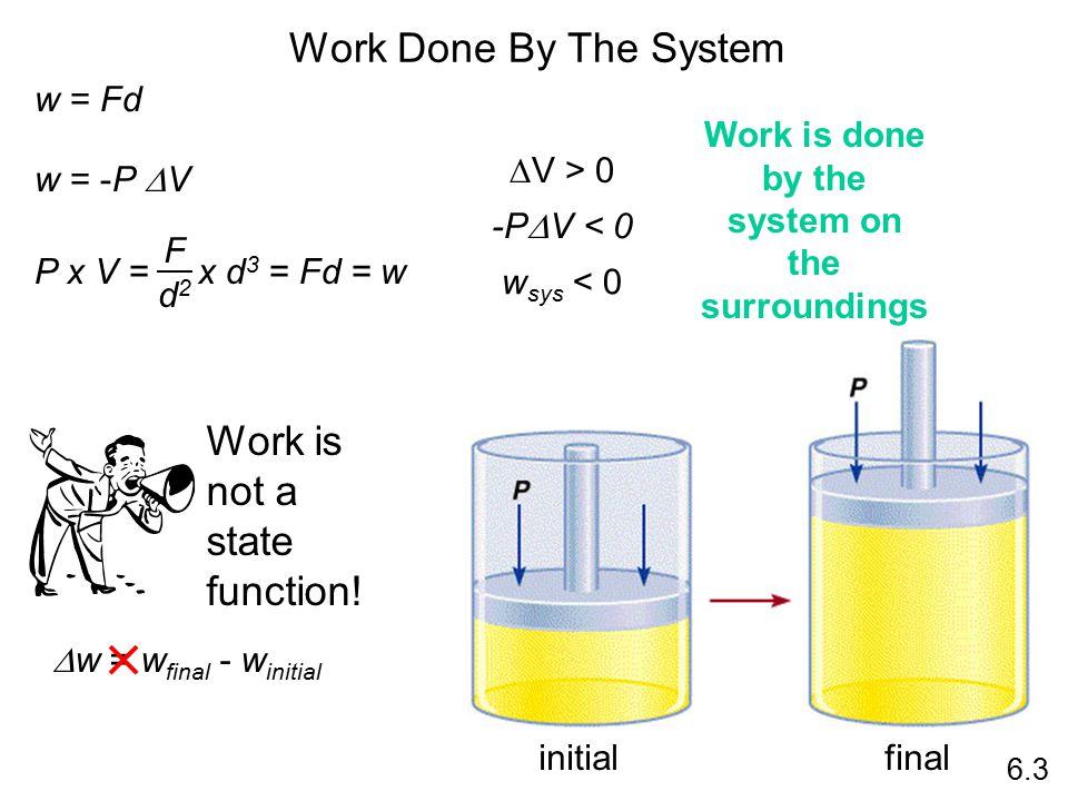 Work Done By The System 6.3 w = Fd w = -P  V P x V = x d 3 = Fd = w F d2d2  V > 0 -P  V < 0 w sys < 0 Work is not a state function.