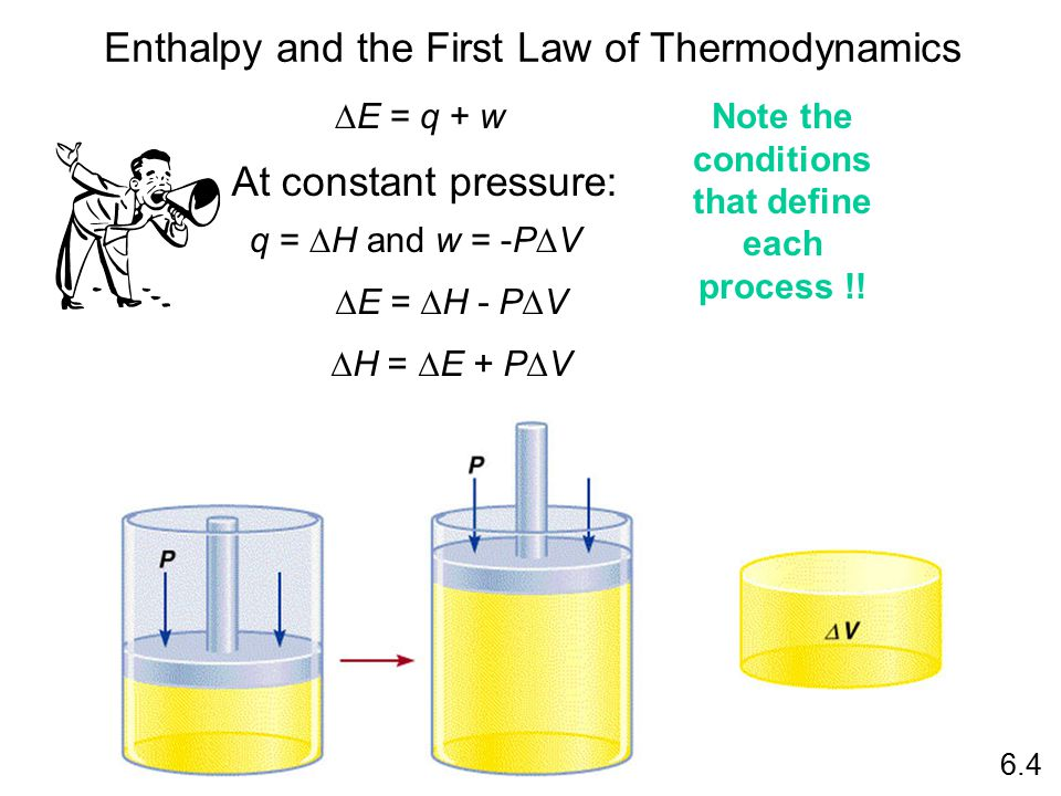 Enthalpy and the First Law of Thermodynamics 6.4  E = q + w  E =  H - P  V  H =  E + P  V q =  H and w = -P  V At constant pressure: Note the conditions that define each process !!