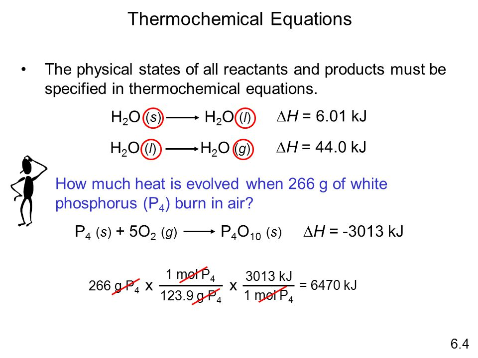 H 2 O (s) H 2 O (l)  H = 6.01 kJ The physical states of all reactants and products must be specified in thermochemical equations. Thermochemical Equa