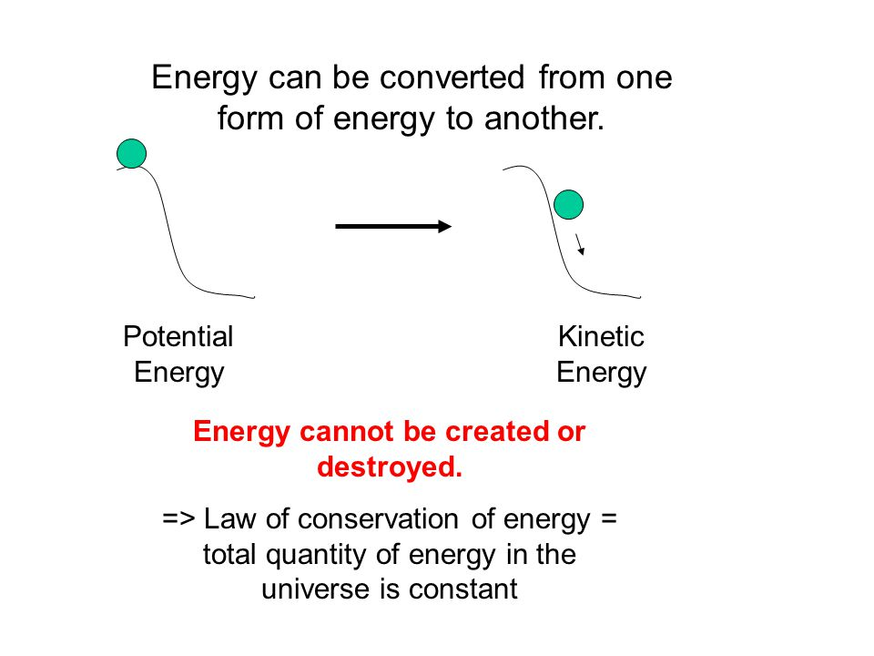 Energy can be converted from one form of energy to another.