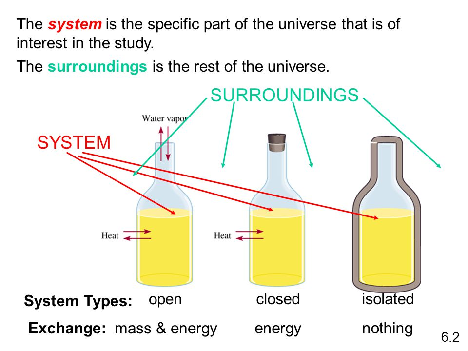 The system is the specific part of the universe that is of interest in the study. The surroundings is the rest of the universe. open mass & energyExch