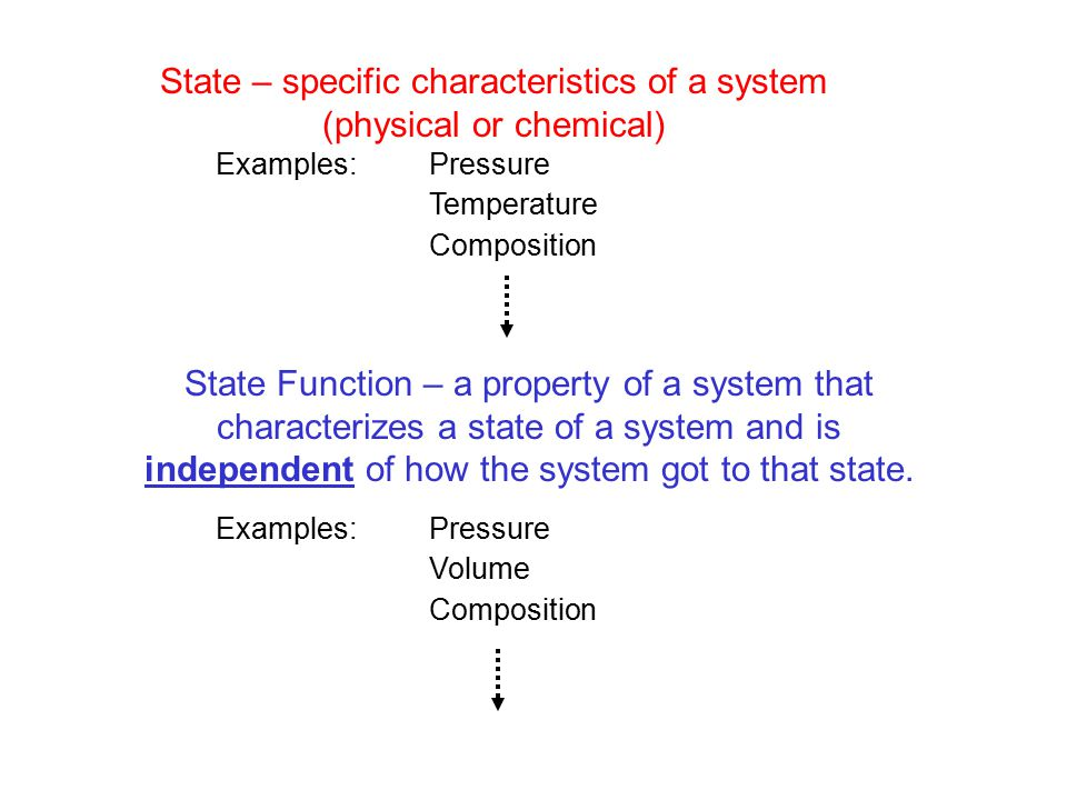 State – specific characteristics of a system (physical or chemical) Examples: Pressure Temperature Composition State Function – a property of a system that characterizes a state of a system and is independent of how the system got to that state.