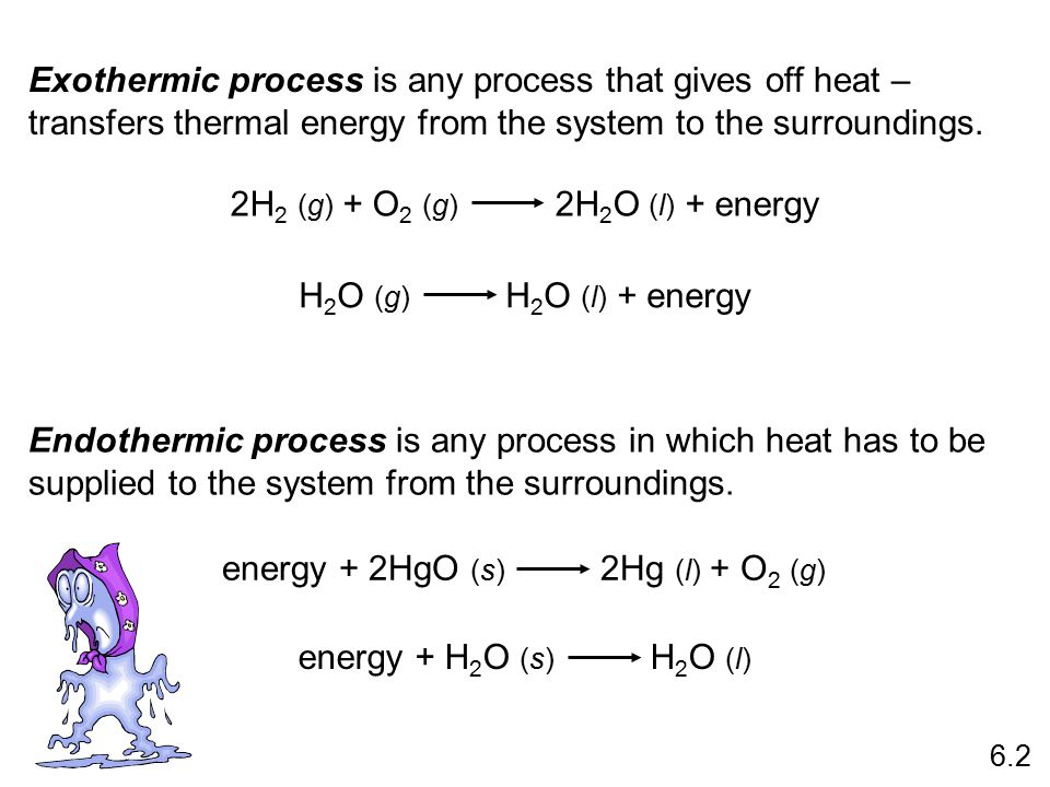 Exothermic process is any process that gives off heat – transfers thermal energy from the system to the surroundings.