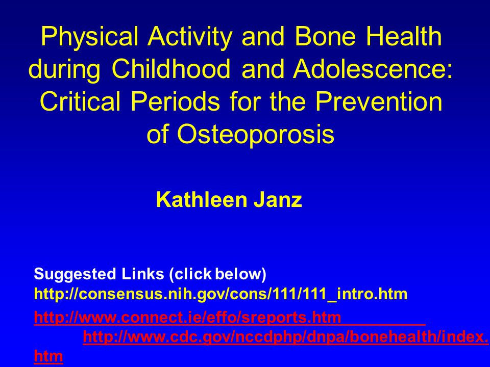 Kathleen Janz Department of Health and Sports Studies, University of Iowa, United States of America My work centers on the health aspects of physical activity and fitness, particularly during childhood and adolescence.