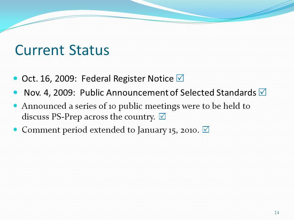 Current Status Oct. 16, 2009: Federal Register Notice  Nov.