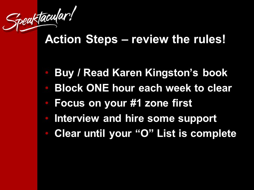 Action Steps – review the rules.