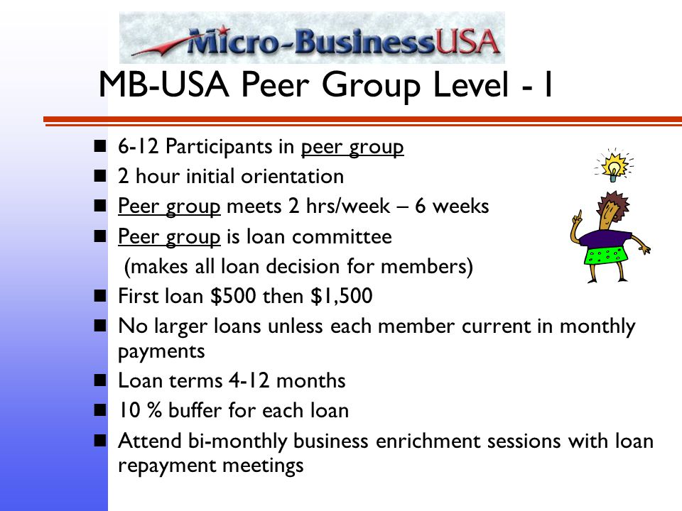 6-12 Participants in peer group 2 hour initial orientation Peer group meets 2 hrs/week – 6 weeks Peer group is loan committee (makes all loan decision for members) First loan $500 then $1,500 No larger loans unless each member current in monthly payments Loan terms 4-12 months 10 % buffer for each loan Attend bi-monthly business enrichment sessions with loan repayment meetings MB-USA Peer Group Level - I