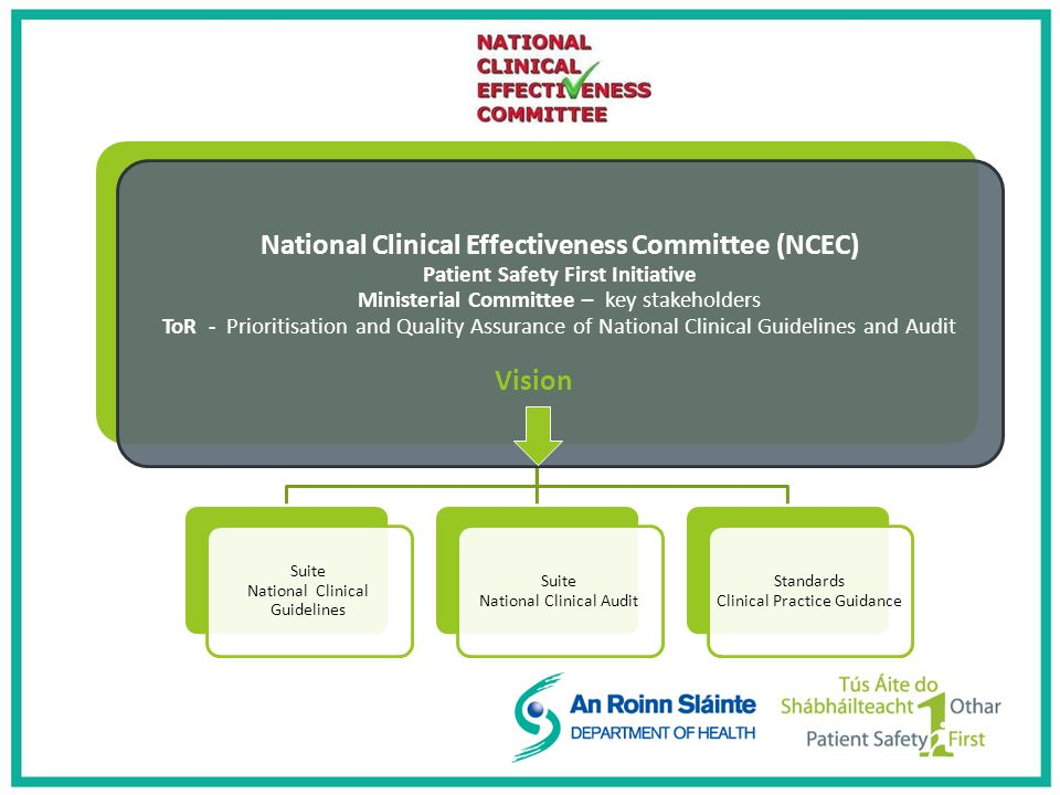 National Clinical Effectiveness Committee (NCEC) Patient Safety First Initiative Ministerial Committee – key stakeholders ToR - Prioritisation and Quality Assurance of National Clinical Guidelines and Audit Vision Suite National Clinical Guidelines Suite National Clinical Audit Standards Clinical Practice Guidance