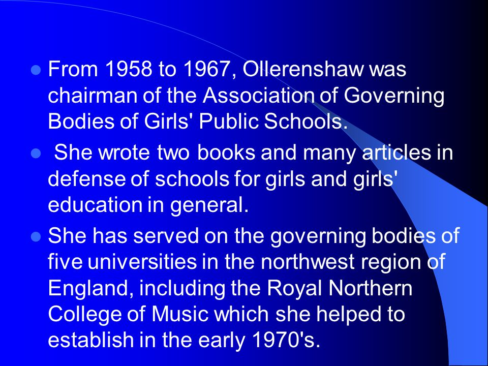 From 1958 to 1967, Ollerenshaw was chairman of the Association of Governing Bodies of Girls' Public Schools. She wrote two books and many articles in