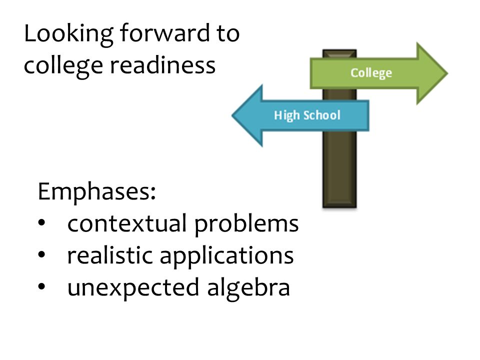 Looking forward to college readiness Emphases: contextual problems realistic applications unexpected algebra