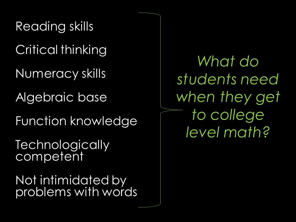 Reading skills Critical thinking Numeracy skills Algebraic base Function knowledge Technologically competent Not intimidated by problems with words Wh