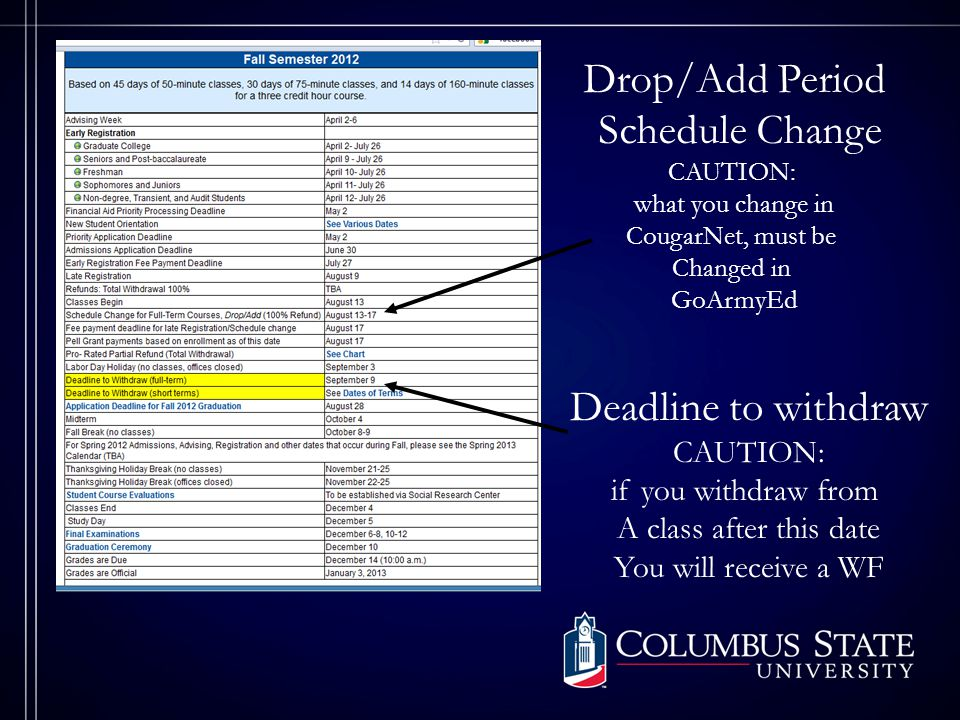 Deadline to withdraw CAUTION: if you withdraw from A class after this date You will receive a WF Drop/Add Period Schedule Change CAUTION: what you change in CougarNet, must be Changed in GoArmyEd