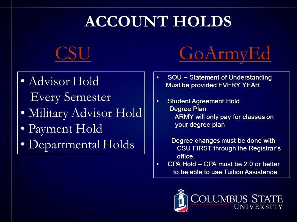ACCOUNT HOLDS CSUGoArmyEd Advisor Hold Every Semester Military Advisor Hold Payment Hold Departmental Holds SOU – Statement of Understanding Must be provided EVERY YEAR Student Agreement Hold Degree Plan ARMY will only pay for classes on your degree plan Degree changes must be done with CSU FIRST through the Registrar's office.