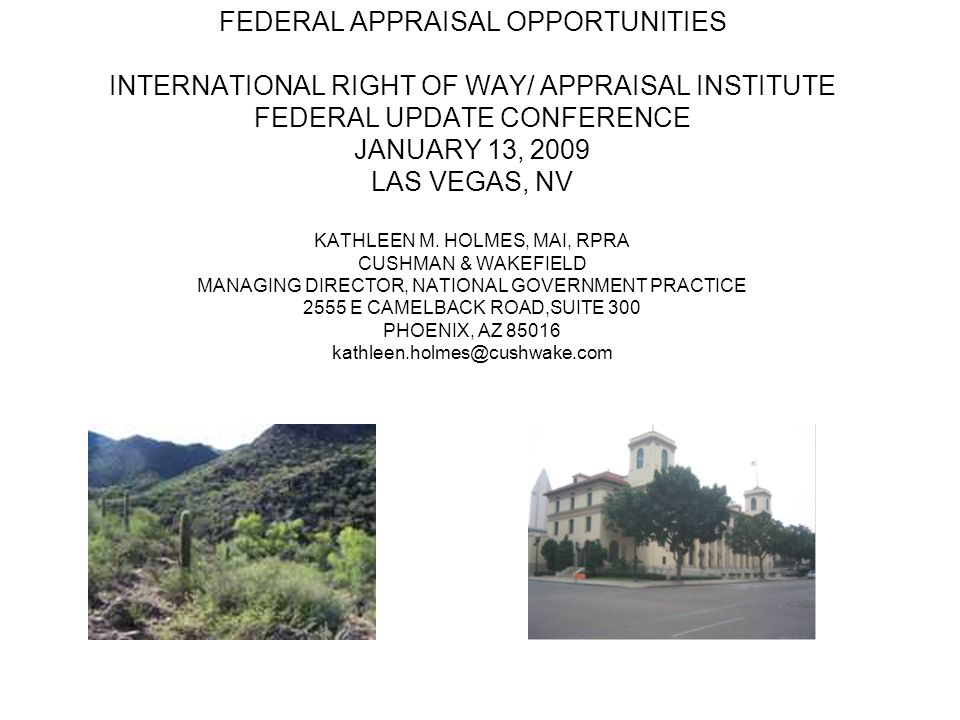 FEDERAL APPRAISAL OPPORTUNITIES INTERNATIONAL RIGHT OF WAY/ APPRAISAL INSTITUTE FEDERAL UPDATE CONFERENCE JANUARY 13, 2009 LAS VEGAS, NV KATHLEEN M.