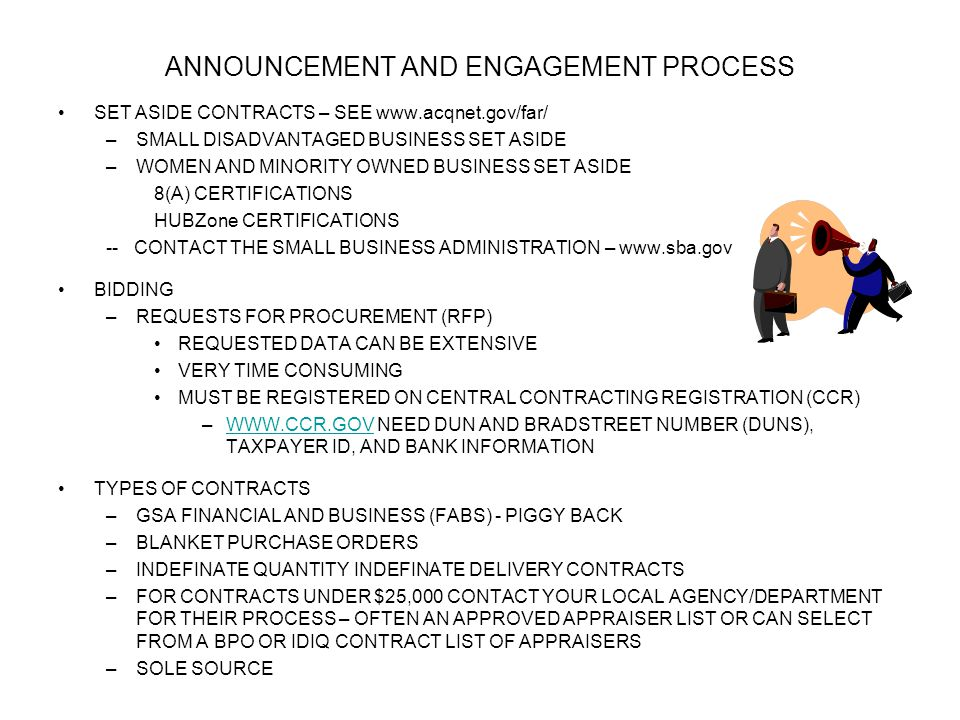 ANNOUNCEMENT AND ENGAGEMENT PROCESS SET ASIDE CONTRACTS – SEE www.acqnet.gov/far/ –SMALL DISADVANTAGED BUSINESS SET ASIDE –WOMEN AND MINORITY OWNED BU