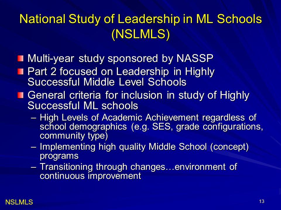 13 National Study of Leadership in ML Schools (NSLMLS) Multi-year study sponsored by NASSP Part 2 focused on Leadership in Highly Successful Middle Le
