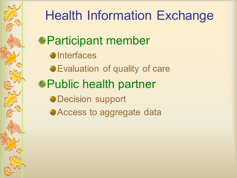 Health Information Exchange Participant member Interfaces Evaluation of quality of care Public health partner Decision support Access to aggregate data