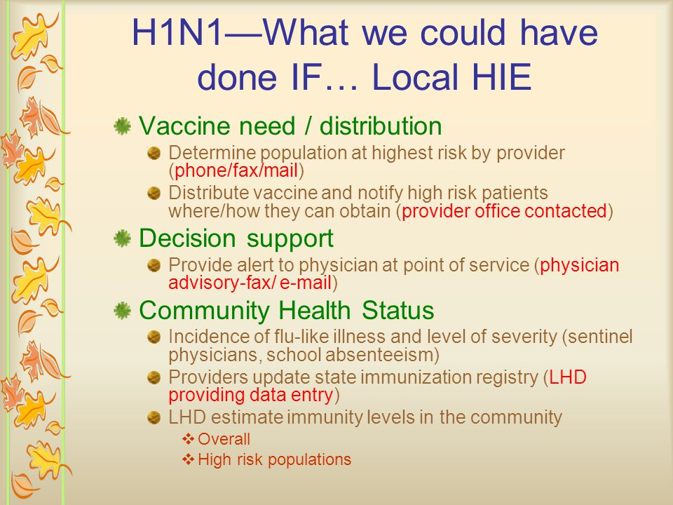 Public Health: H1N1—What we were able to do with EMR Set up phone bank and schedule people for appointments Export all H1N1 immunization information to state registry electronically Report #s by risk and age categories