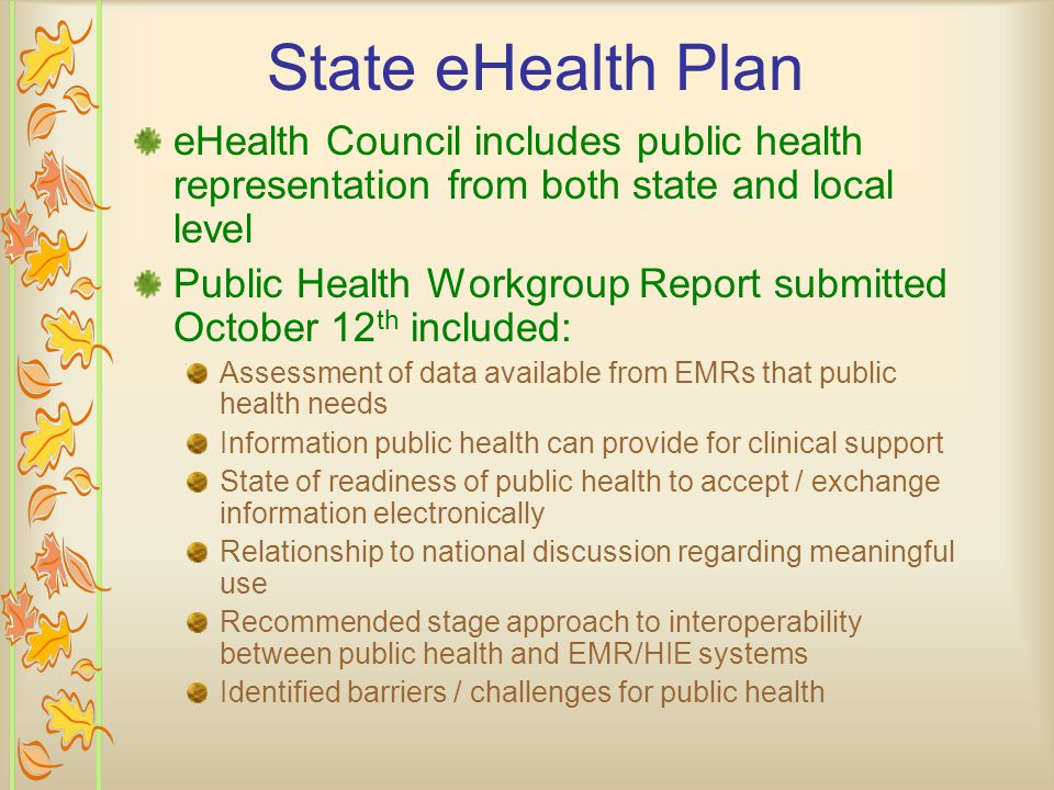 State eHealth Plan eHealth Council includes public health representation from both state and local level Public Health Workgroup Report submitted October 12 th included: Assessment of data available from EMRs that public health needs Information public health can provide for clinical support State of readiness of public health to accept / exchange information electronically Relationship to national discussion regarding meaningful use Recommended stage approach to interoperability between public health and EMR/HIE systems Identified barriers / challenges for public health