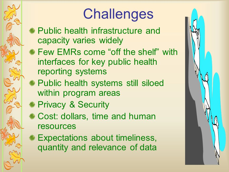 Challenges Public health infrastructure and capacity varies widely Few EMRs come off the shelf with interfaces for key public health reporting systems Public health systems still siloed within program areas Privacy & Security Cost: dollars, time and human resources Expectations about timeliness, quantity and relevance of data