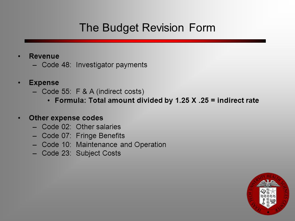 The Budget Revision Form Revenue –Code 48: Investigator payments Expense –Code 55: F & A (indirect costs) Formula: Total amount divided by 1.25 X.25 =