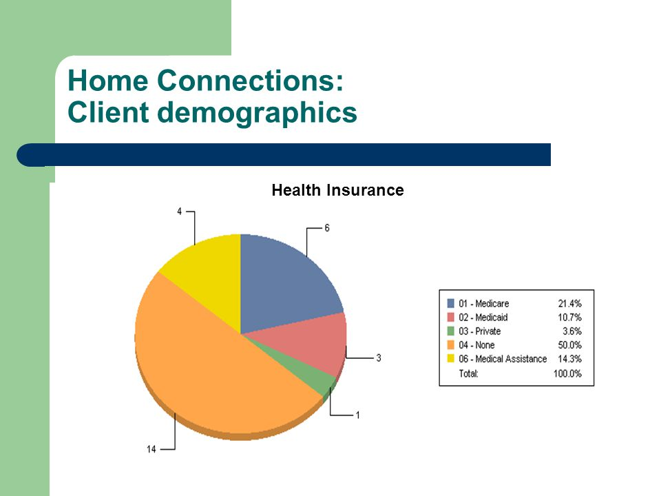 Home Connections: Client demographics Health Insurance