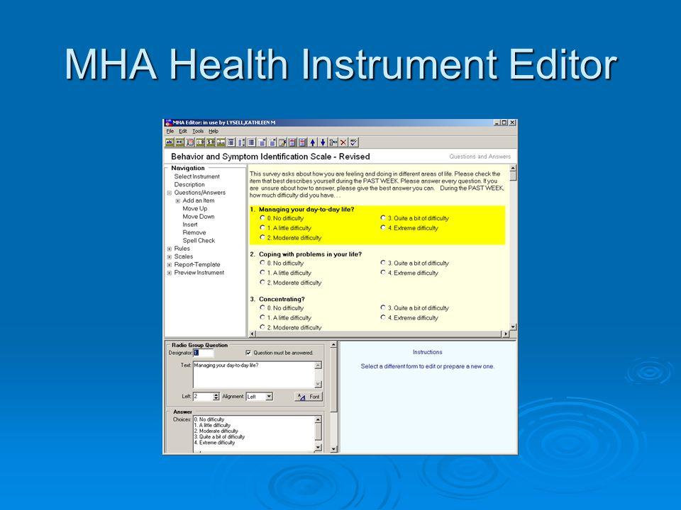 MHA Health Instrument Editor